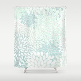Floral Blooms, Soft Teal and Mint Shower Curtain