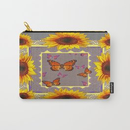 Southwestern Style Sunflowers Butterflies  Grey Ranch Design Carry-All Pouch