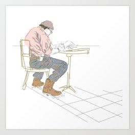 Drinking Coffee doing a Crossword Art Print