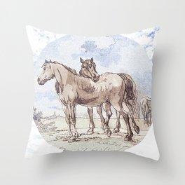 Companions - horse love Throw Pillow