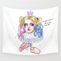 harley quinn Wall Tapestries featuring Harley Quinn by Ash Tarek