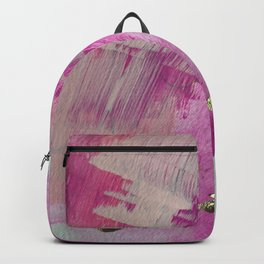 Starburst: a colorful, minimal abstract mixed-media piece in pinks and gold by Alyssa Hamilton Art Backpack