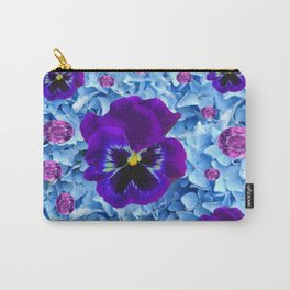 HYDRANGEAS FLORAL & PURPLE PANSIES AMETHYST GEMS Carry-All Pouch