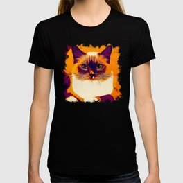 blue eyes ragdoll cat vector art late sunset T-shirt