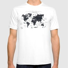The World Map Mens Fitted Tee White LARGE