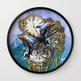 Steampunk Dolphin Time Wall Clock