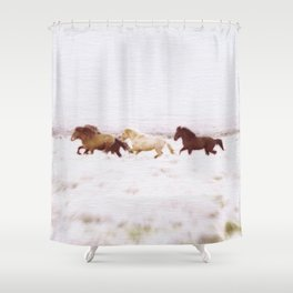 WILD AND FREE 5 - HORSES OF ICELAND Shower Curtain