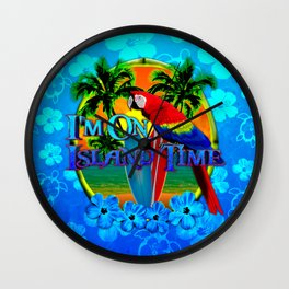 Island Time Surfing Blue Tropical Flowers Wall Clock