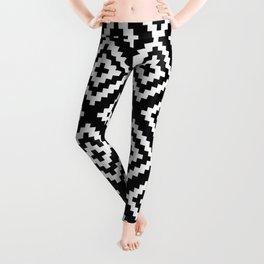 Black and White Geometrical Tribal Pattern Leggings