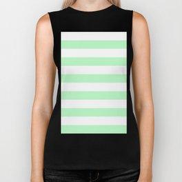 Horizontal Stripes - White and Light Green Biker Tank
