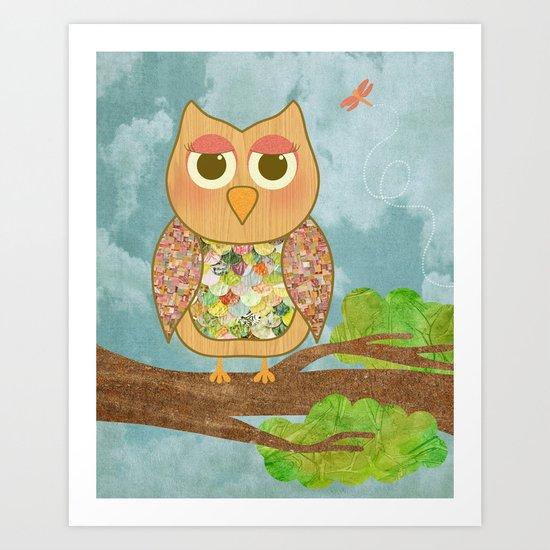 Woodland Owl in a Tree Art Print