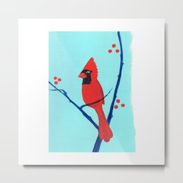 Cardinal Winter Berries Metal Print