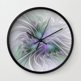 Abstract Floral Fractal Art Wall Clock