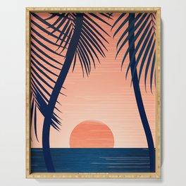 Sunset Palms - Peach Navy Palette Serving Tray