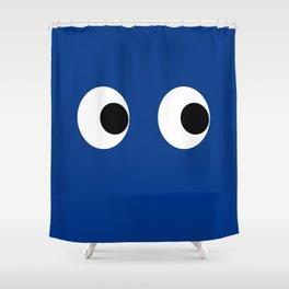 Googly Wiggle Eyes Print Blue Navy Indigo Kids Decor Shower Curtain
