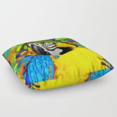 Gold and Blue Macaw Parrot Fantasy Floor Pillow