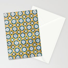Star Tiles Mosaic Repeat Patten Blue And Yellow Stationery Cards
