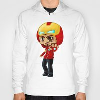 tony stark Hoodies featuring Tony Stark - Iron Hooded by Kapika Arts
