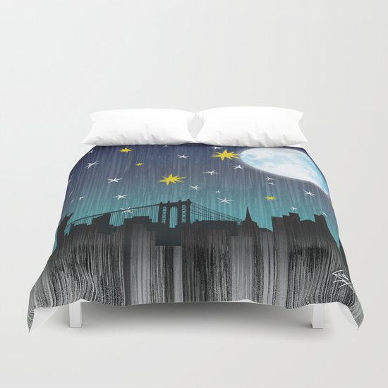 Starry Night Over Manhattan Duvet Cover