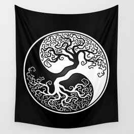 White and Black Tree of Life Yin Yang Wall Tapestry