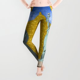 Statue of Liberty & the Moon on Gold-leaf Screen Leggings