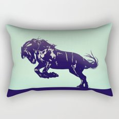 Dark Blue Stallion Rectangular Pillow