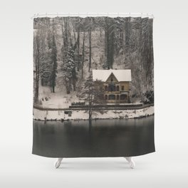 House On Lake Bled Shower Curtain