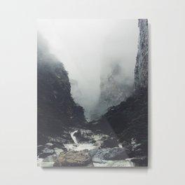 Creek Rapids At Base Of Jagged Cliffs Metal Print