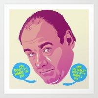 sopranos Art Prints featuring Tony Soprano by Mike Wrobel