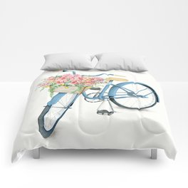 Blue Bicycle with Flowers in Basket Comforters