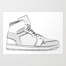 sneaker illustration pop art drawing - black and white graphic Art Print