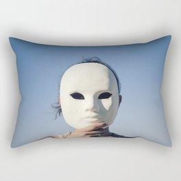 Mask enigmatic girl blue sky Rectangular Pillow
