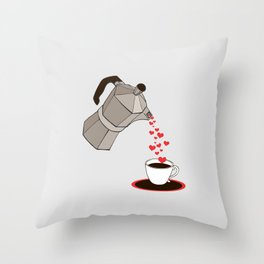 Kitchen Living Room Interior Wall Home Decor with Cuban Coffee Maker pouring Hearts Throw Pillow