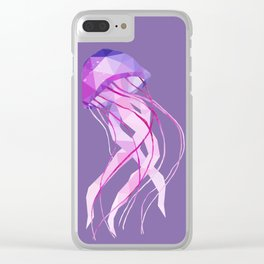 Low Poly Pelagia Noctiluca Jelly Fish. Clear iPhone Case