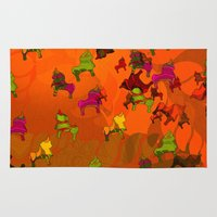 chicago bulls Area & Throw Rugs featuring Dancing Bulls by Iconografico