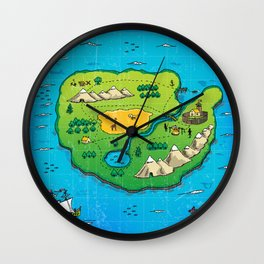 Old pirate's map Wall Clock