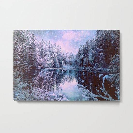 Lavender Blue Winter Wonderland Forest Metal Print