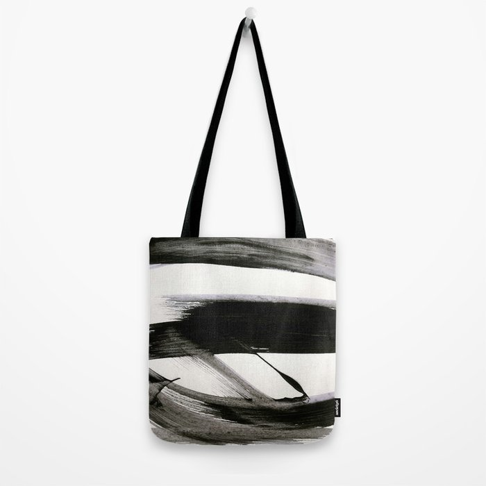 Brushstroke 9: a bold, minimal, black and white abstract piece Tote Bag