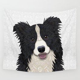 Happy Border Collie Wall Tapestry