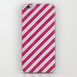 Neon pink faux gold glitter modern stripes pattern iPhone Skin