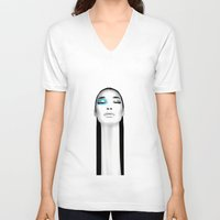 asian V-neck T-shirts featuring The Asian by Axel Savvides