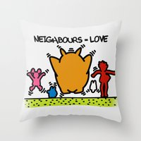 keith haring Throw Pillows featuring Keith Haring & The neighbours by le.duc
