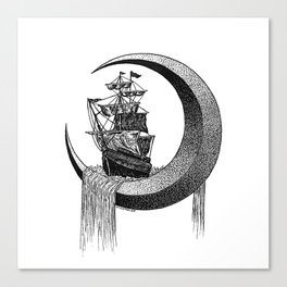 Sailing on the moon Canvas Print