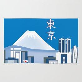 Tokyo, Japan in Kanji - Skyline Illustration by Loose Petals Rug