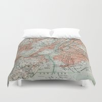 new york map Duvet Covers featuring Vintage Map New York by Map Shop