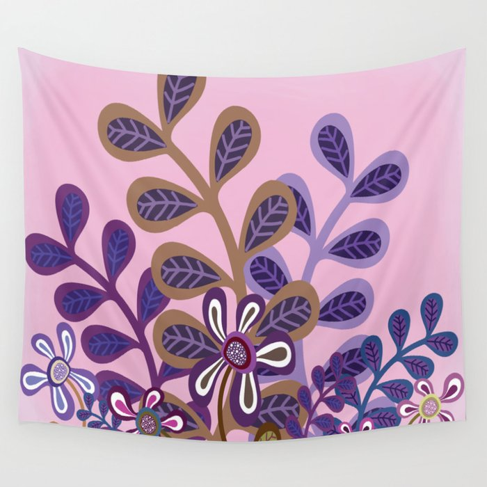 Plum Foliage Wall Tapestry