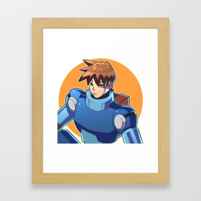 Blue Armor Boy Framed Art Print