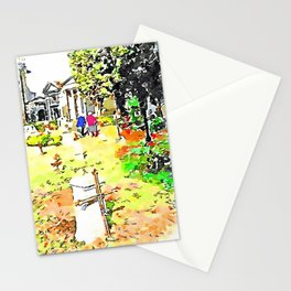 Barbarano Romano: gravestones and old women at the cemetery Stationery Cards