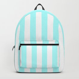 Narrow Vertical Stripes - White and Celeste Cyan Backpack