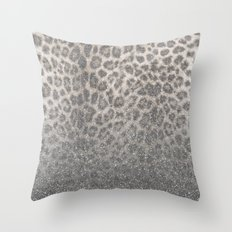Shimmer (Snow Leopard Glitter Abstract) Throw Pillow